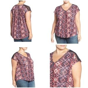 Lucky Brand Inset Lace Top Red Linen Blend Plus 3X